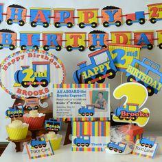 Tren de cumpleaños fiesta decoraciones-3 pieza por bcpaperdesigns
