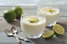 Tropical and fun, this coconut lime panna cotta is a snap to put together making it a great dessert when you are having guests over. Great Desserts, Low Carb Desserts, Dessert Recipes, Vanilla Panna Cotta, Paleo Recipes, Cooking Recipes, Milk Dessert, 100 Calories, Dairy Free