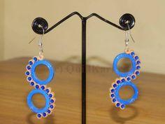 Blue Swirl Design Quilling Earrings - Buy Quilling Earrings Online, Paper jewellery, Quilling Jumkas