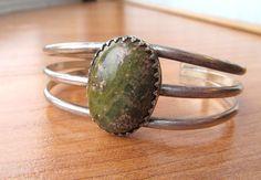 Vintage Unakite open cuff bracelet by lolatrail on Etsy, $15.00