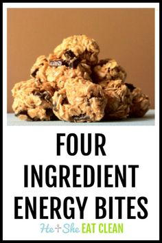 These Four Ingredient Energy Bites are similar to our Clean Cookie Dough but fewer ingredients and less time to wait. We love to take these bites Healthy Eating Recipes, Clean Eating Snacks, Gourmet Recipes, Healthy Snacks, Snack Recipes, Healthy Breads, Bar Recipes, Healthy Kids, Protein Snacks
