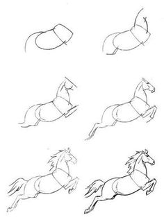 how to simply draw a horse Horse Pencil Drawing, Horse Drawings, Pencil Art Drawings, Realistic Drawings, Art Drawings Sketches, Animal Drawings, Easy Drawings, Arte Equina, Horse Sketch