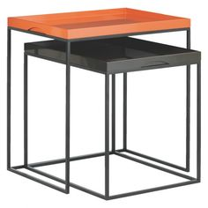 NESTOR Black and orange nest of tables