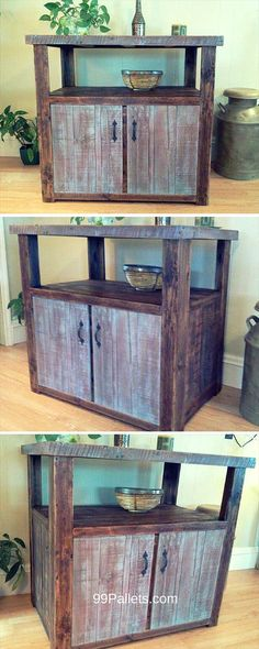 Vintage Pallet Console Table with Storage - #99Pallets