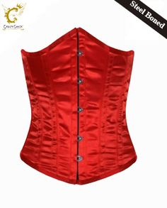 Crazy Chick Plain Satin Red Steel Boned Under Burst Corset (Steel Boned) Red Corset, Color Spray, Christmas Accessories, Valentines Day Party, Hot Pants, Costume Dress, Leotards, Dress Collection, Fancy Dress
