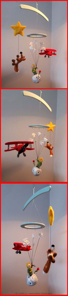 As well as hand painting artwork, illustrating and Graphic Design, I also do a little bit of needle felting. Here is a baby mobile I hand made for a friend. The Characters are all from the famous children's book 'The Little Prince'. Needle Felting and Design by Carren Lu 'Artistic Touch'. Woodwork by Kevin Moulder https://www.facebook.com/ArtisticTouchUK/ www.artsitic-touch.co.uk