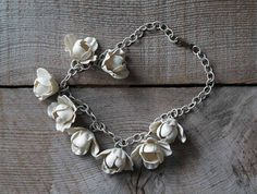 Antique Celluloid Flower Necklace,  1930s, 1940s, Art Deco Era , Vintage, Women's Fashion, Wedding Jewelry,