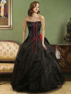 Black Organza Strapless Lace-up Gothic Wedding Dress