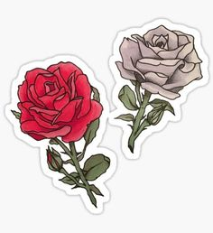 Red and White Roses Sticker