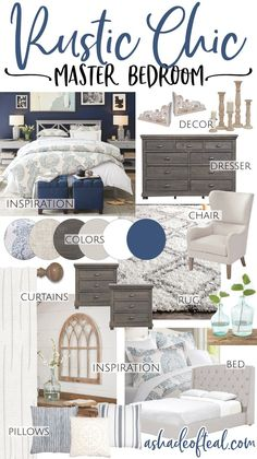 Spring 2018 One Room Challenge, a Rustic Chic Master Bedroom Makeover. Shabby Chic Master Bedroom, Rustic Master Bedroom Decor, Chic Master Bedroom, Bedroom Inspirations, Blue Master Bedroom, Shabby Chic Bedrooms, Blue Bedroom Design, Interior Design Bedroom, Master Bedrooms Decor