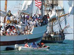 The Battle of Lake Erie Bicentennial reenactment was September 2, 2013, in the Lake Erie around Put-in-Bay Island, Ohio. Photo via @Aaron Kapor Kapor Toledo Blade.