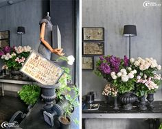 french grey used on the walls, black containers and interesting butterfly collections