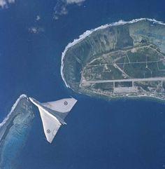 A Vulcan over RAF Gan, Maldives in 1960