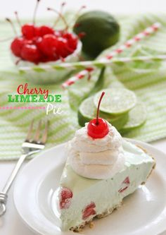 Frozen Cherry Limeade Pie -- my go to dessert when I'm short on time and company is coming!
