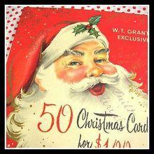 Large vintage W.T. Grant's Santa Christmas Card Box ~ great graphics!