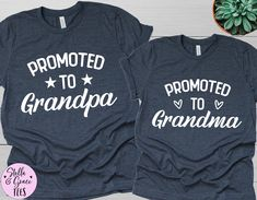 Pregnancy Announcement Grandparents,  New Grandparents Shirt, Promoted to Grandma Shirt, Baby Announcement Shirts for Grandma and Grandpa Mommy And Me Shirt, Mommy And Me Outfits, My T Shirt, Grandparent Pregnancy Announcement, New Grandparents, Grandma And Grandpa, Pregnancy Shirts, Family Shirts, Cute Shirts