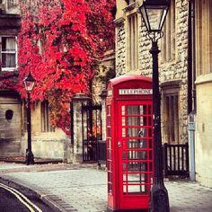 Cabine rouge et feuilles d'automne