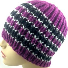 Hat Beanie Striped Purple Gray Black Mens Women Unisex Handknit Bernat | jazzitupwithdesignsbynancy - Knitting on ArtFir