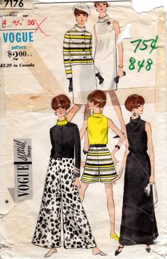 1960s Womens Dress & Palazzo Pants - Vintage Pattern Vogue Special Design 7176 - Bust 34 by ErikawithaK on Etsy