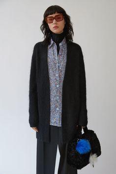 Acne Studios Raya Short Mohair black is a fluffy compact mohair cardigan sweater.