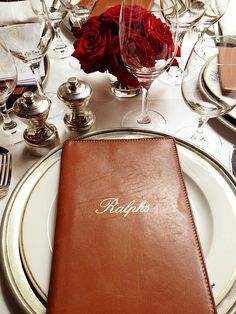 Having a meal at Ralph Lauren's restaurant in Paris