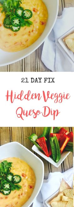 21 Day Fix Queso Dip with hidden cauliflower puree! Oh so yummy and counts as some of your daily green!