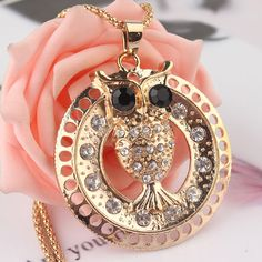 14k Gold Filled Austrian Crystal  Dress Chain Pendant Owl Necklace