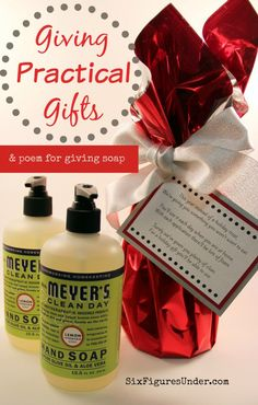 Have you ever thought of giving useful household products as gifts? Giving practical gifts saves money for the giver and receiver. Consumable gifts also prevent clutter and accumulating stuff! This year we're giving hand soap with a riddle poem.