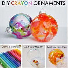 DIY CRAYON DRIP ORNAMENTS #christmas