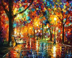 "Colorful Night — PALETTE KNlFE Abstract Landscape Park Oil Painting On Canvas By Leonid Afremov - Size: 40"" x 30"" (100cm x 75cm)"