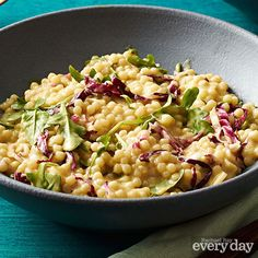 Pearl Couscous Risotto with Arugula: I OMITTED the ARUGULA and increased the amount of stock by so that I could add more radicchio, cheese and green onion. Veggie Recipes, Vegetarian Recipes, Healthy Recipes, Veggie Meals, Healthy Dinners, Risotto Recipes, Pasta Recipes, Cooking Recipes, Pearl Couscous Recipes