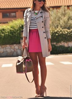 trench, stripes and pink skirt (I would wear a longer skirt #modestfashion )