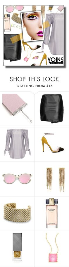 """""""Yoins See-through Grey Off Shoulder Self-tie Cuffs Curved Hem Shirt"""" by tjuli-interior ❤ liked on Polyvore featuring Lanvin, BillyTheTree, Estée Lauder, Burberry, Alexis Bittar, Faraone Mennella by R.F.M.A.S., yoins, yoinscollection and loveyoins"""