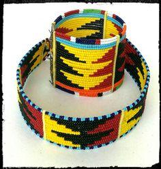 Beaded Maasai choker with matching bracelet by Sipdada on Etsy