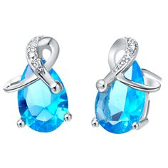 Enormous Baby Blue Zircon/Vogue 925 Sterling Silver Wedding Jewelry Stud Earrings For Women Free Bag Drop Shipping SCR172 #Affiliate