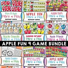 """This 9 game bundle will give your students lots of """"apple"""" learning fun! This file includes 9 fun printable card games that can be used with small groups of students or in a math center.They would be great for the beginning of Grade One, or through the year in Kindergarten.These five games teach a variety of skills and deal with numbers mostly from 0 to 20."""