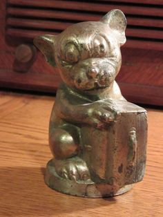 BONZO CAST METAL MONEY BOX BANK 1920s GEORGE STUDDY - WONDERFUL PATINA