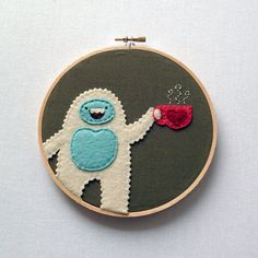 Yeti Loves Tea - Hand Embroidered   Oh, this is so cute it's killing me. You know how I feel about monsters. And tea. And the two together. Too perfect.