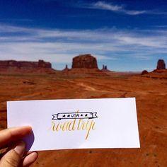 The end of a beautiful US roadtrip 🚙 ! #roadtrip #USA #monumentvalley #calligrascape #honeymoon #trip #calligraphie #calligraphy #moderncalligraphy #cooperplate #western #arizona #likeinthemovie