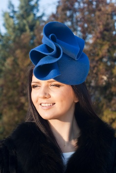 Royal blue hare fur felt pillbox hat, felt cocktail hat