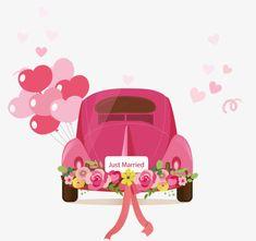 Wedding Wishes, Wedding Cards, Car Wedding, Wedding Dress Illustrations, Baby Food Jar Crafts, Wedding Drawing, Just Married Car, Car Card, Cultural Crafts
