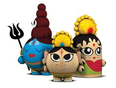 Check out Toy Art da India - concept toys by Brazilian designer Rique C. Pictured above are Shiva, Ganesh Indian Crafts, Indian Art, Toy Art, Diwali Gifts, Mini Canvas Art, Modern Art Paintings, Doll Painting, Hindu Deities, Diwali Decorations