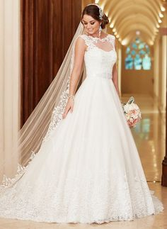 Wedding Dresses - $231.77 - A-Line/Princess Scoop Neck Court Train Tulle Wedding Dress With Beading Appliques Lace (0025100078)