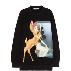 Givenchy Black Bambi print neoprene sweatshirt found on Polyvore