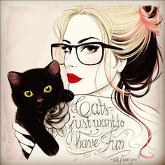 Hipster Retro Girl with tattoo & cat by Tati Ferrigno, via Behance #tattoo #hispter #cat