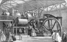 Steampunk Found on the web this 1862 print of a giant sugar mill on exhibition.  Interesting to study the picture to see how real stuff differs from steampunk recreations.  I particularly enjoyed the overly elaborate design of the support for the rocker arm just beyond the giant gears and flywheel.  Walking stick, top hats, facial hair on the gentlemen - check, check, check, but look as close as I might, I see no goggles, no weapons, no time pieces, no visible corsets, no visible shapely…