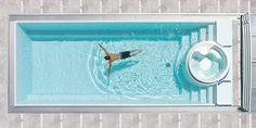 piscine coque enterrée à débordement en céramique SUNDECK INFINITY AURA