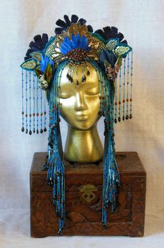Chinese Art Nouveau Asian Geisha Fantasy Empress Queen Princess godess headpiece headdress  crown beaded fringe belly dance. $325.00, via Etsy.