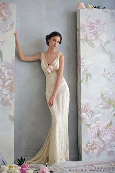 {Gorgeous, Slinky, Ivory & Champagne Beaded Lace Column/Sheath Wedding Gown With Cowl Neckline by Papilio 2010 | Photographed by Marina Danilova}