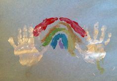 rainbow handprint art to accompany Don Freeman's A Rainbow of my Very Own